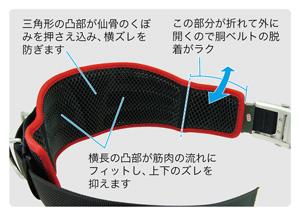 柱上安全帯用ベルト 幅広立体サポートメッシュタイプ