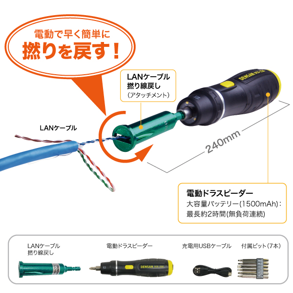 電ドラスピーダー LANケーブル撚り線戻し セット