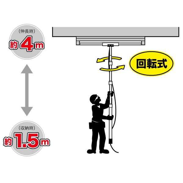 直管ランプチェンジャー(回転式/4m/ショートタイプ)