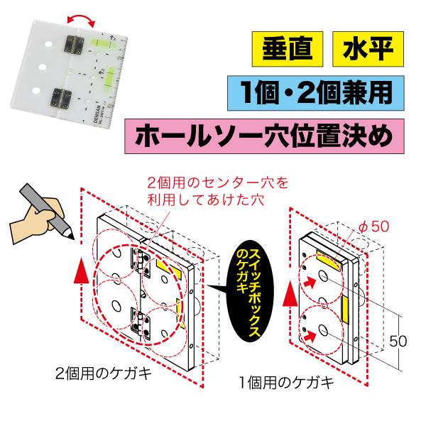 スイッチボックスケガキレベル(1個2個・ホールソー用)