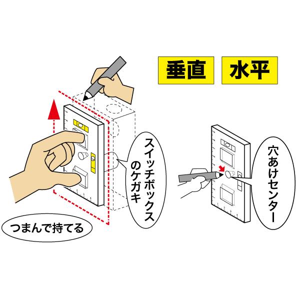 スイッチボックスケガキレベル(つまみ穴付タイプ 磁石なし)